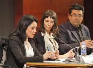 María José López, Gloria Poyatos y Jesús Rumbo, la noche del jueves en el Club Diario. Vicent Marí