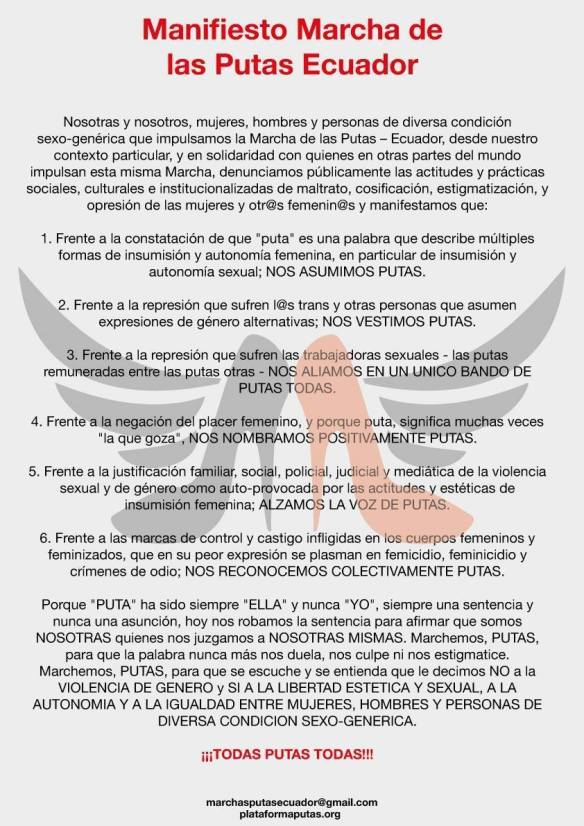 Manifiesto Marcha de las Putas Ecuador