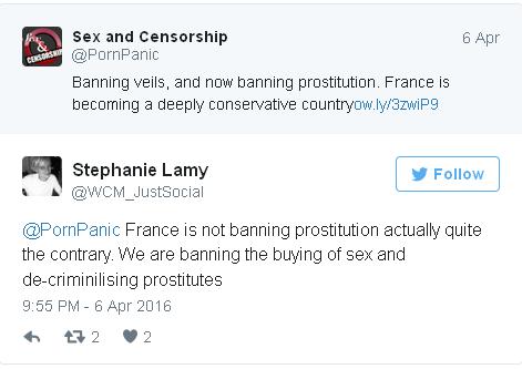 """Sex and Censorship: """"Prohibición de los velos y ahora prohibición de la prostitución. Francia se está convirtiendo en un país profundamente conservador."""" Stephanie Lamy: """"Francia no está prohibiendo la prostitución, sino todo lo contrario. Estamos prohibiendo la compra de sexo y despenalizando a las prostitutas"""""""